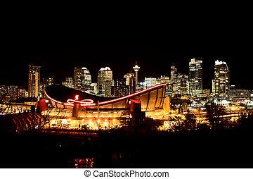 Calgary Alberta Canada Skyline major City saddledome Night...
