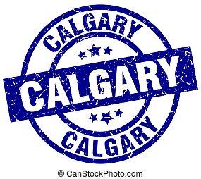 Calgary blue round grunge stamp