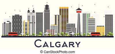 Calgary Canada City Skyline with Gray Buildings Isolated on White Background.