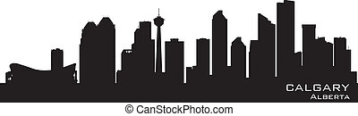 calgary, canada, skyline., gedetailleerd, silhouette