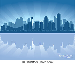 Calgary, Canada skyline with reflection in water