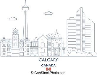 Calgary City Skyline, Canada - Calgary Linear City Skyline,...