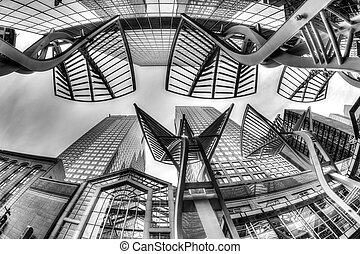 Black and white rendering of Calgary's downtown skyscrapers along Stephen Avenue, a popular pedestrian mall on 8 Avenue SW.