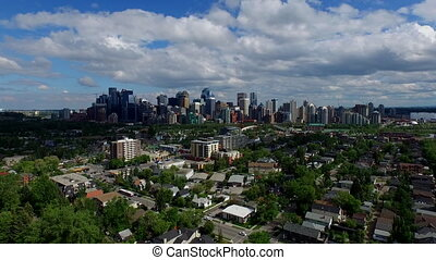 Calgary establishing shot - Aerial panorama Calgary Alberta...