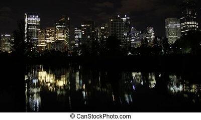 Calgary night reflection - The night skyline of Calgary...