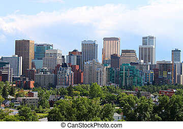 Calgary office buildings - Skyline view of highrise office ...