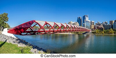Calgary pedestrian bridge spanning the Bow River