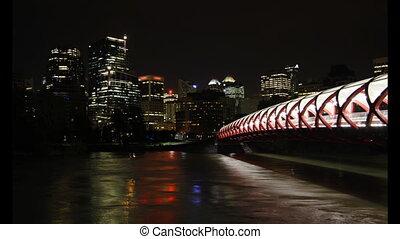 calgary, pont, nuit