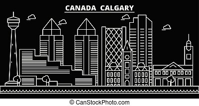 Calgary silhouette skyline. Canada - Calgary vector city, canadian linear architecture, buildings. Calgary travel illustration, outline landmarks. Canada flat icon, canadian line banner