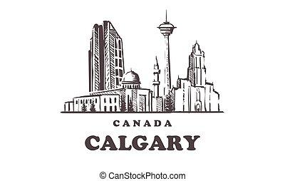 Calgary sketch skyline. Canada, Calgary hand drawn vector illustration.