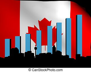 Calgary skyline and graph over flag