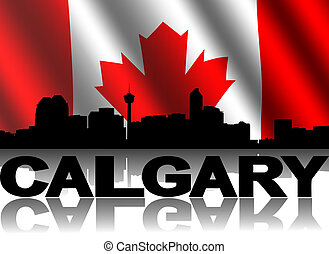 Calgary skyline and text reflected with rippled Canadian...