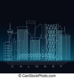 Calgary skyline, detailed silhouette.