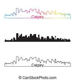 Calgary skyline linear style with rainbow
