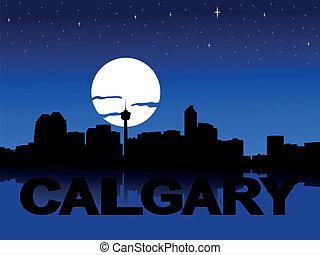 Calgary skyline moon illustration