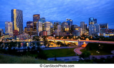 Calgary Skyline, Night, Time Lapse