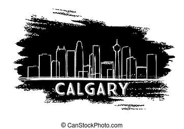 Calgary Skyline Silhouette. Hand Drawn Sketch.