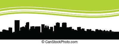 Calgary Skyline - Skyline silhouette of the city of Calgary,...