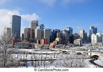Calgary skyline - Skyscrapers towering over Calgary Alberta...