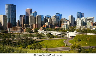 Calgary Skyline Time Lapse - Downtown Calgary skyline, time...