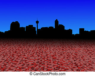 Calgary skyline with abstract dollar currency foreground illustration