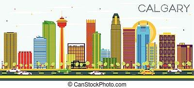 Calgary Skyline with Color Buildings and Blue Sky.