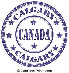 Calgary-stamp - Grunge rubber stamp with text...