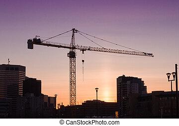 calgary, város, napnyugta