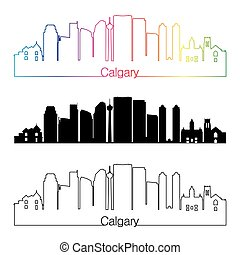 Calgary V2 skyline linear style with rainbow
