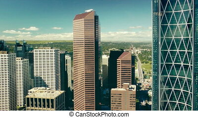 Aerial view of Calgary, Canada from the Calgary Tower