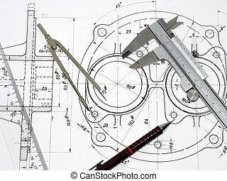 calibrador, compás, regla, y, lápiz, en, dibujo técnico