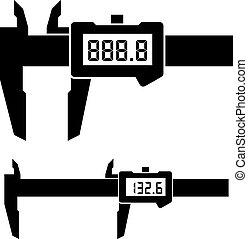 calibrador, lcd, micrómetro, vernier, calibrador, digital, electrónico