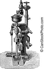 Calibrated machine, vintage engraving.