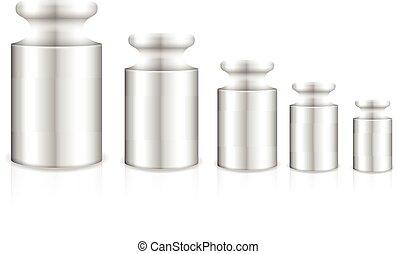 570cf468925 Close up of a set of calibration weights ( 3d render)