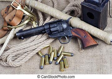 calibre, .45, revolver, occidental, accessoires