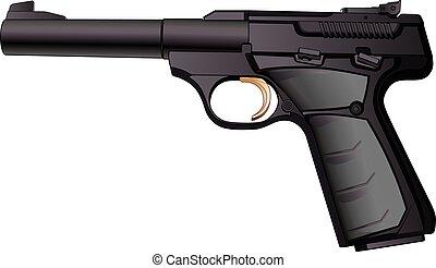 calibre, semiautomático, arma de fuego, 22