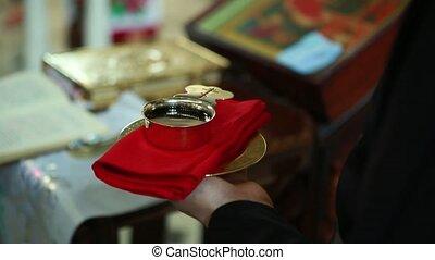 calice, mariage, prêtre, mains