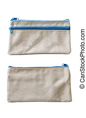 Calico bag isolated on white background with clipping path