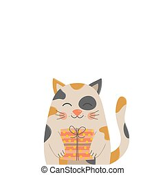 Calico cat with gift