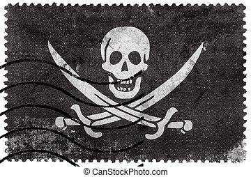 Calico Jack Pirate Flag, old postage stamp