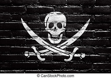 Calico Jack Pirate Flag, painted on brick wall