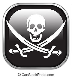 Calico Jack Pirate Flag, square glossy button