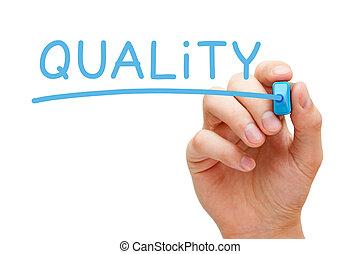 calidad, azul, marcador