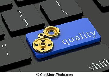 calidad, concepto, en, azul, teclado, botón