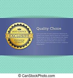 calidad, opción, alto, premio, mejor, estampilla, dorado, etiqueta