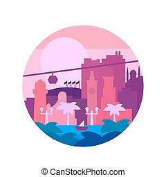calidad, pintado, plano, colores, y, la ciudad, o, árboles de palma, por, mar, vector, ilustración