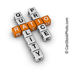 calidad, precio, proporción