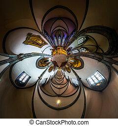 calidoscopio, vista, de, iglesia gótica, interior, poco, planeta, efecto, de, panorámico, disparo., ribeauville, france.