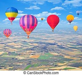 caliente, balloons., vuelo, aire