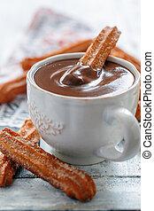 caliente, chocolate., churros